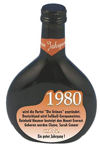 QUATSCHmanufaktur Bocksbeutel zum 40. Geburtstag (für Jahrgang 1980) Rotwein 0,25 l