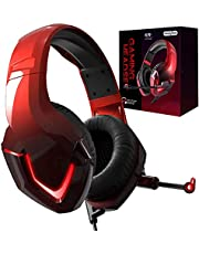 INHANDA Stereo Sound PC Gaming Headset with Microphone, Over Ear PS4 Gaming Headphone with Noise Cancelling Mic, Memory Foam Earmuffs, LED Light, USB, for Nintendo Switch/iPad/MAC/Laptop/Phone
