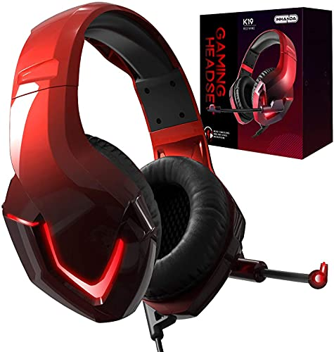 INHANDA K19 PS4 Headset with Mic,Xbox One Headset with Stereo Surround Sound,Memory Foam Earmuffs,LED Light,Compatible with Xbox PC Switch Mac Laptop PS5 - Gradient Red