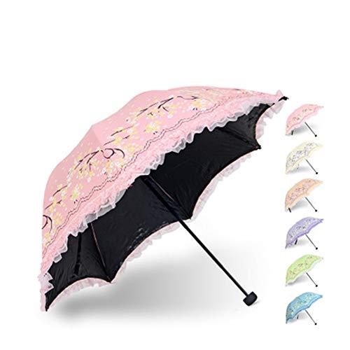Lace Sun Umbrella Damen Lace Tri-Fold UV Schwarz-Weiß-Regenschirm Tragbarer Sonnenschirm UV-Schutz Damen Sonnenschirm Home Umbrella-Pink