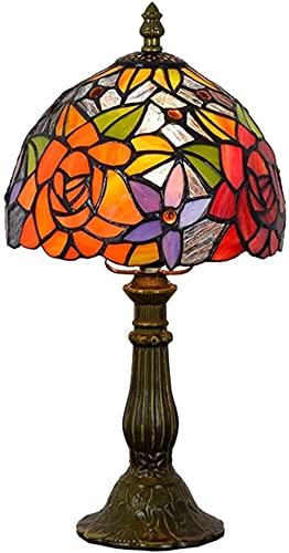 Lámpara De Mesa De 8 Pulgadas Estilo Tiffany Europeo Vintage Pastoral Vidrio Manchado Lampara De Dormitorio Retro