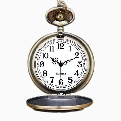 ZMKW Reloj de Bolsillo de Cadena Larga con Insignia de brujería y hechicería árabe Blanca para Hombre, Caja de Acero Inoxidable, por defecto