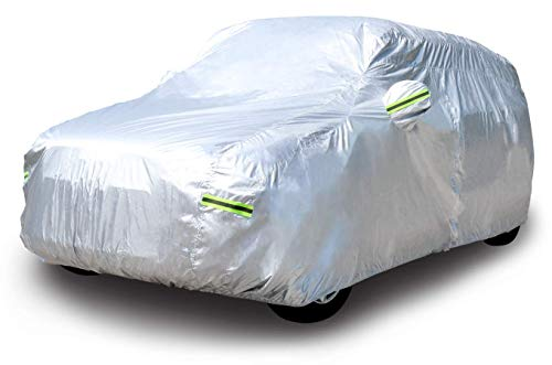 Amazon Basics – Funda resistente a la intemperie para vehículo, poliéster de tipo Oxford de 150D, para todocaminos (SUV) de hasta 480cm, Plateada