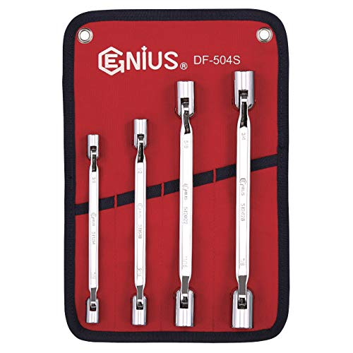 Genius Tools 4 Piece SAE Double Flexible Socket Wrench Set (Mirror Finish) DF-504S