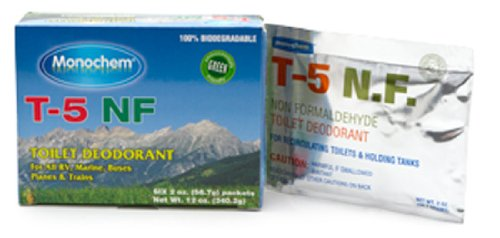 Worldwide Monochem T5NF-FOILPKS T-5 Non Formaldehyde Toilet Deodorizing Chemical, (Pack of 6)