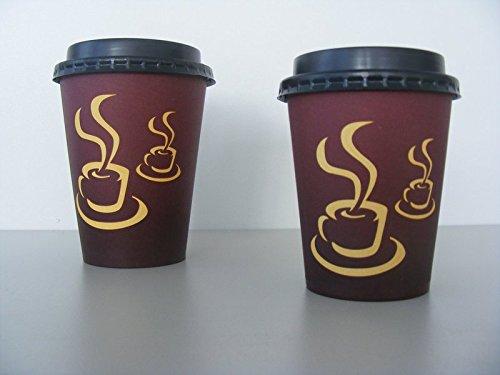 Pack4Food 1000 Kaffeebecher mit Deckel 8oz 200ml 0,2l Coffee to go Becher Coffeecups Kaffee to go Pappbecher inklusive schwarzem Deckel