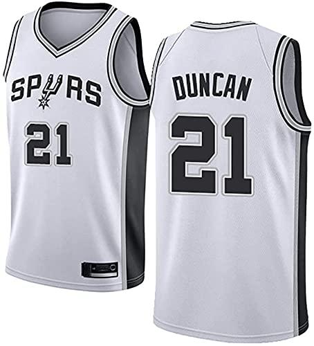 jiaju Ropa Baloncesto de los Hombres NBA Jersey Vintage Spurs 21# Duncan Transpirable Quick Secking Sin Mangas Vestima Top para Deportes, Blanco, S (Color : White, Size : Medium)