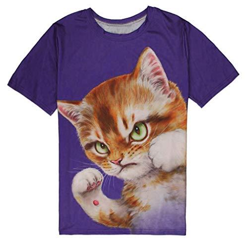 Yowablo T-Shirt Herren Weiß T-Shirt Herren 3XL T-Shirt Top Bluse MäNner Sommer LäSsig Abstrakte Katze 3D-Druck O Hals Kurzarm (XXL,1Marine)