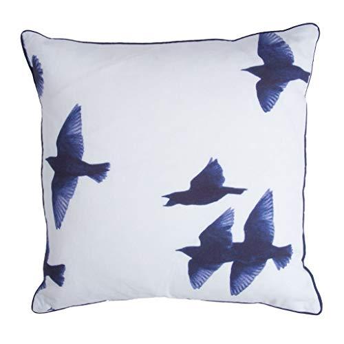 Walra Dekokissen Blue Birds, 100% Baumwolle, 45x45, Weiß/Blau