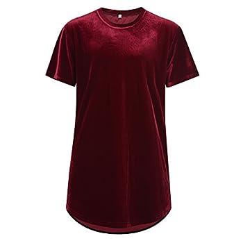 VFIVE UNFOUR Mens Velvet Velour Fashion Hip Hop Long Line Hem T Shirts Wine Red XL