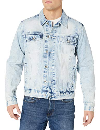 Southpole Men's Premium Fashion Denim Jacket, Light Sand Blue Signature, X-Large