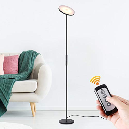 Albrillo LED Torchiere Floor Lamp with Remote and Touch Control, Dimmable Standing Uplight Lamp for Living Room Bedroom Office Reading, Black