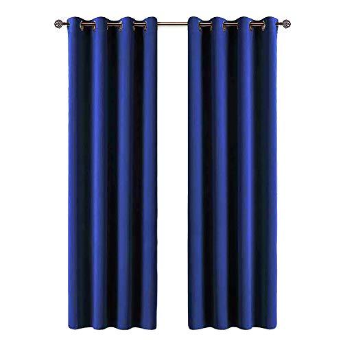 EVERHEN HOME Cortinas térmicas Opacas aislantes de frío y Calor Ideal para habitación o salón. Dos Unidades de 117 x 138 centímetros Cada uno. Azul Marino.