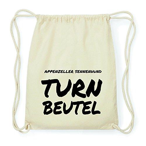 JOllify Appenzeller Sennenhund Hipster Turnbeutel Tasche Rucksack aus Baumwolle - Farbe: Natur – Design: Turnbeutel - Farbe: Natur