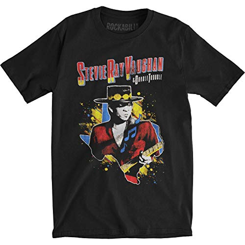 Stevie Ray Vaughan 1984 Tour Fitted Jersey Tee Black Camicie e T-Shirt(Small)