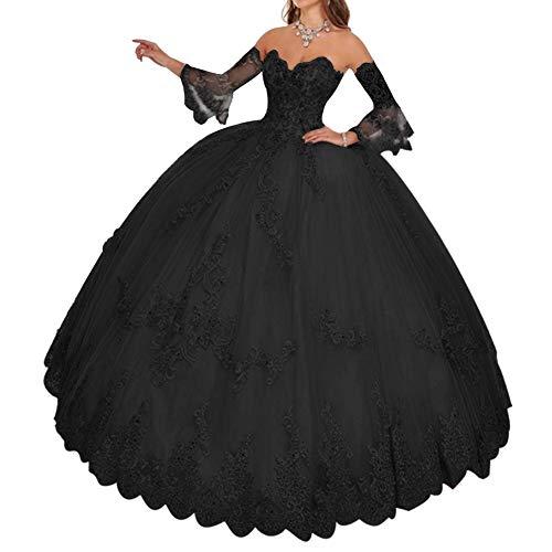 HUINI Damen Brautkleider Standesamt Prinzessin Quinceanera Kleider Ballkleider A-Linie mit Spitzen Abendkleider Schwarz 46