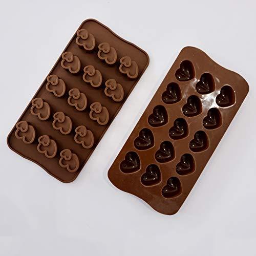 Herz Schokoladenform,Silikon Pralinenformen 2er Set Eiswürfelform Silikonform Pralinen Schokoladenpralinen für Valentinstag Weihnachts Kinder