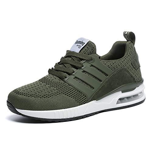 JUXINCHI Herren Damen Sneakers Bequeme Atmungsaktiv Laufschuhe Schnürer Air Profilsohle Sportschuhe Luftpolster Turnschuhe Fitness Leichte,Grün,39 EU (Etikette 40)