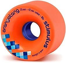 Orangatang Stimulus 70 mm 80a Freeride Longboard Skateboard Wheels w/Loaded Jehu V2 Bearings (Orange, Set of 4)