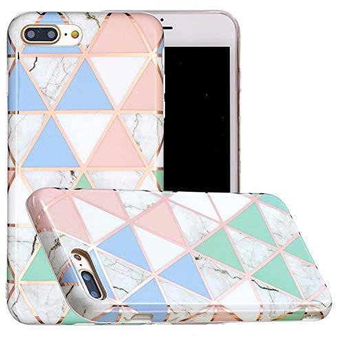 Miagon Marmo Custodia Cover per iPhone 7 Plus/8 Plus,Galvanizzato Marble Silicone Morbido Protettivo Bumper Flessibile Gel Sottile Case per Ragazza,Blu Bianca