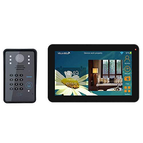 XINTONGSPP Timbre, 9 Pulgadas por Cable/inalámbrico WiFi RFID Contraseña Video Sistema de...