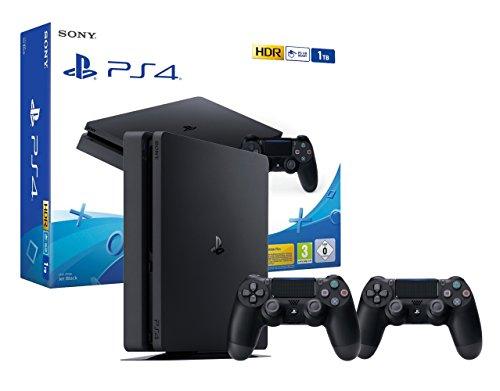 PS4 Slim 1To Console Playstation 4 Noir + 2 Manettes Dualshock PS4 V2