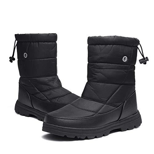 gracosy Winter Snow Boots for Women Men, Short Warm Booties Outdoor Waterproof Mid Calf Boots with Fur Lining Black Women 11 US = Men 8.5 US
