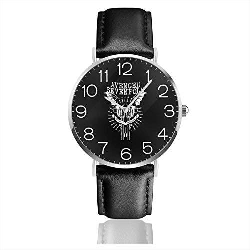 Men's Fashion Minimalist Wrist Watch Quartz Wrist Watch Avenged Sevenfold Leather Strap Watch