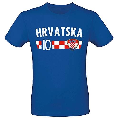 Shirt-Panda Fußball WM T-Shirt · Fan Artikel · Nummer 10 · Passend zur Weltmeisterschaft · Nationalmannschaft Länder Trikot Jersey für 2022 · Herren Damen Kinder · Kroation Hrvatska Croatia L