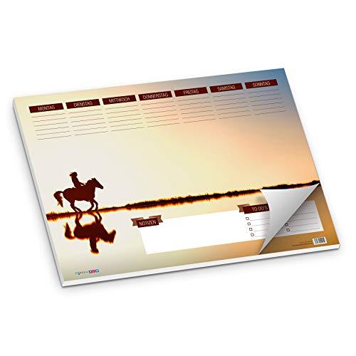 itenga Schreibtischunterlage Pferd am See DIN A3 50 Blatt Schreibunterlage Reiterin auf Pferd mit Spiegelung im Wasser schöne Farben Sonnenuntergang