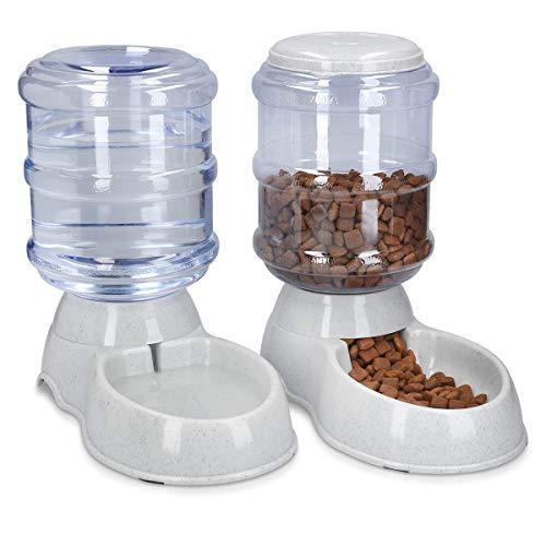 Navaris Set 2X Dispenser Automatico Cibo Acqua - Cani e Gatti Distributore 3,8 Litri - Senza Batterie - Distributori Erogatori per Animali Domestici