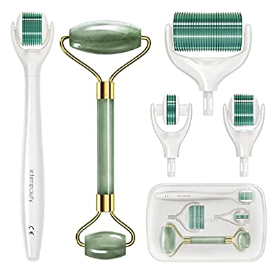 Set of 3 replaceable Microneedling Heads for Face, Body, Beard & Hair Growth-Includes free storage case.(Green)