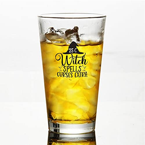 25 Centesimi Strega Magie Maledizioni Extra 01 Bicchieri da Birra Personalizzati, Pinta Birra Bicchiere da 16oz Idee per Festa dell'Indipendenza, Papà, Mamma, Marito, Moglie, Groomsman Present.