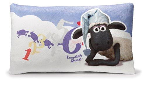 NICI 41471Shaun la pecora Cuscino con Dormiglione rettangolare, 43x 25cm, colore: bianco/blu, anteriore posteriore blu con nuvole bianche
