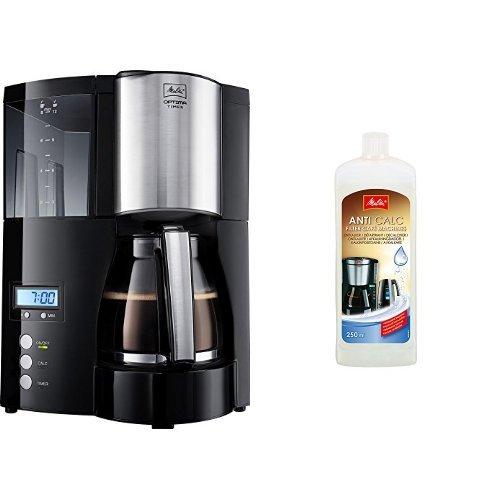 Melitta 100801 Optima Timer Kaffeefiltermaschine - schwarz/Edelstahl + Melitta 192618 Flüssigentkalker