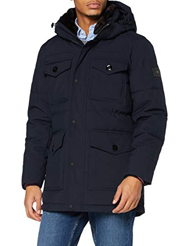 Tommy Hilfiger Herren Removable Fur Hooded Parka Jacke, Desert Sky, XL