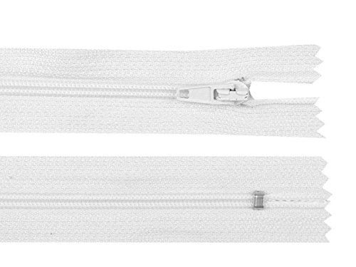 Schnoschi 2 Stück 30 cm Langer Spiralreißverschluss, Nicht teilbar, weiß, 3mm Laufschiene Reißverschluss