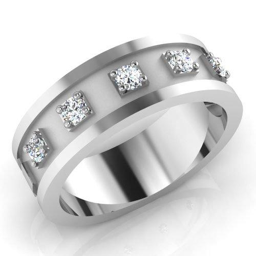 Herren-Ehering 0,29 Karat mit rundem natürlichem Diamant, 14 Karat Weißgold, alle Größen I J K L M N O P Q R S