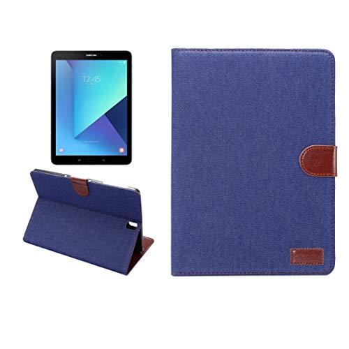 JIANGHONGYAN For Samsung Galaxy Tab S3 9.7 / T820 Denim Tela Textura Horizontal Flip Funda de Cuero con Soporte y Tarjeta de Ranuras y Billetera (Color : Dark Blue)