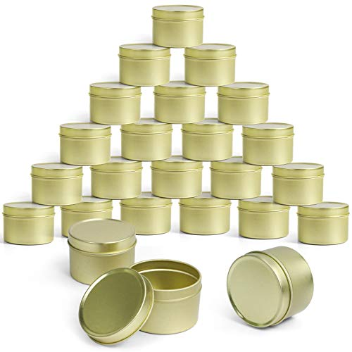 LA BELLEFÉE Metal Candle Tin 24 Pcs, 2.7 oz, Round Candle Jars, Golden Empty Containers with Lids for DIY Candle Making, Arts Crafts, Storage