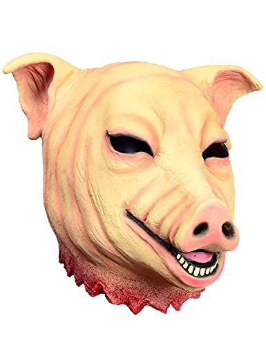 Pig Mask Scary Animal Latex Mask Halloween Costume Cosplay Props...