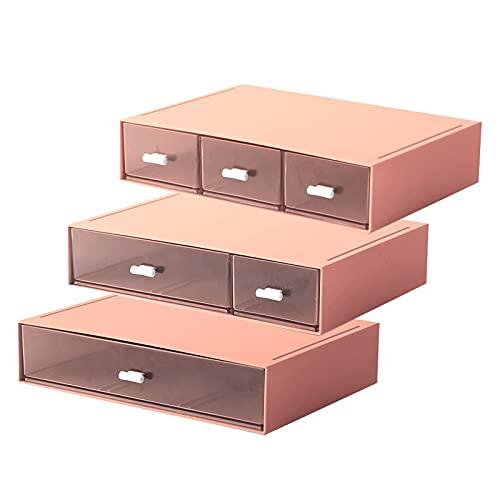 小物入れ 卓上収納ケース 組み合わせ自由 引き出し 収納 レターケース おしゃれ収納ボックス A5 化粧品 文房具 デスク収納 書類ケース (ピンク-3段引き出し(引き出し1つ+2つ+3つセット))