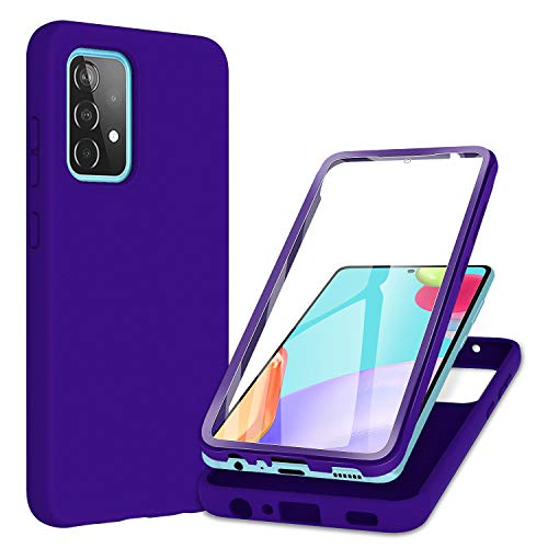 PULEN for Samsung Galaxy A32 Case with Built-in Screen Protector,Rugged PC Front Cover + Soft Liquid Silicone Non-Slip Back Cover, Shockproof Full-Body Protective Case Cover - Purple
