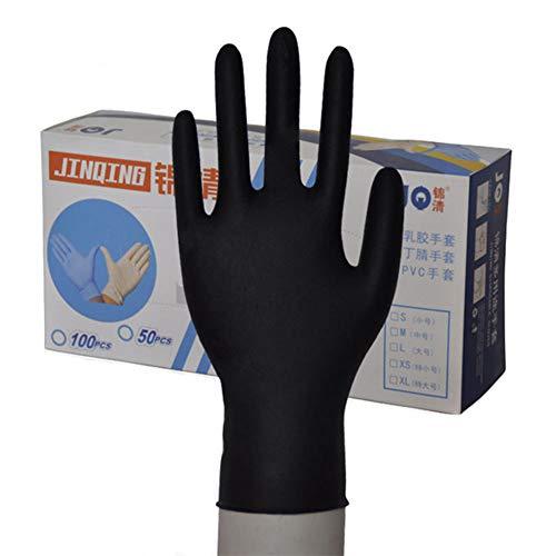 MYF Verdickte Schwarze Einmalhandschuhe Dingqing Latex Beauty Massage Tattoo Haushalt Wasserdichter Experimenteller Gummi Einweg - Latexfreie Handschuhe,XL