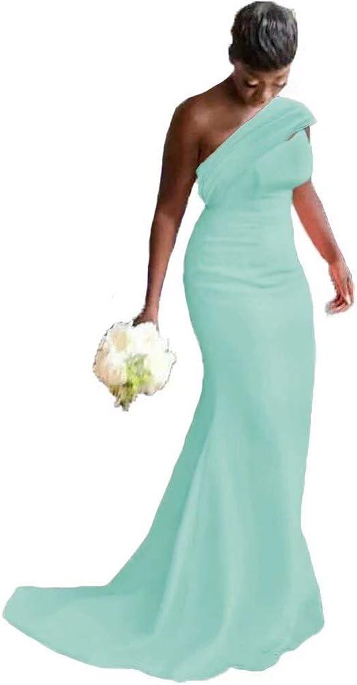 YiMinpwp One Shoulder Mermaid Bridesmaid Dresses for Wedding Long Women Dress