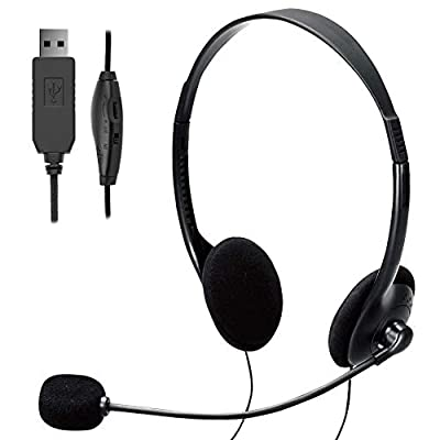 TINGDA USB Computer Headset, Lightweight PC Headset with Microphone Noise Cancelling, Wired Headphones Business Headset for Skype Webinar Cell Phone Call Center, Clear Chat, Ultra Comfort by TINGDA