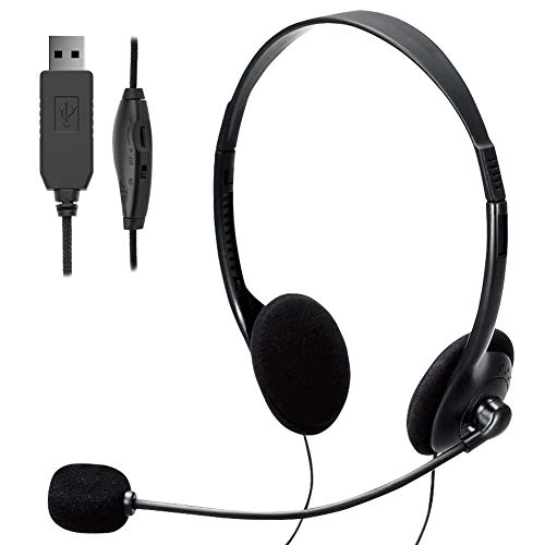TINGDA USB Headset, PC Headset mit Mikrofon Noise Cancelling & Lautstärkeregler, Computer Chat Headset für Skype, Webinar, Homeoffice, Gaming, e-Learning und Musik, Call Control, Ultra Komfort