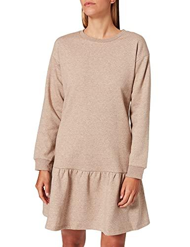 PIECES Damen PCCHILLI LS Flounce Dress BC Kleid, Silver Mink/Detail:Melange, S