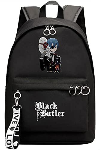 Gumstyle Anime Black Butler Zaino Scuola Laptop Backpack Donna Ragazza Rucksack Borsa da Scuola Cosplay Casual Daypack Zainetto da Viaggio Nero/15