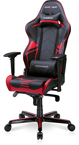 DXRacer Computer Chair Adjustable Ergonomic Office Reclining Swivel Video Game Seat for Adults, Teen Gamers and Streamers, Racing Series RV131, Black & Red